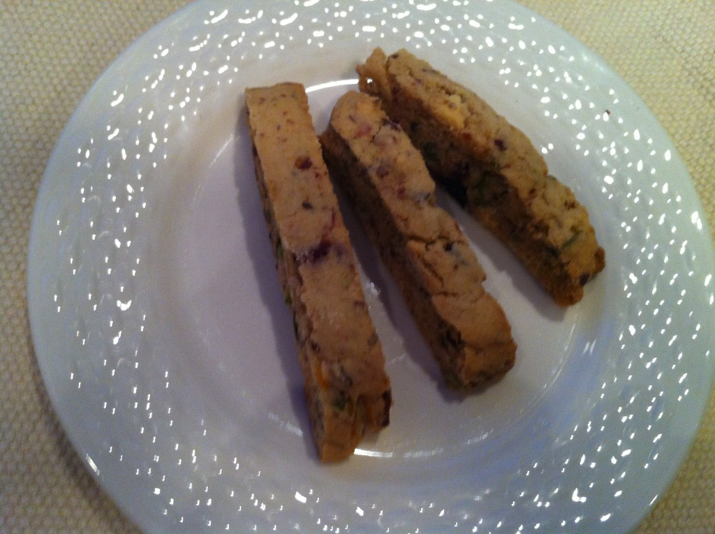 White chocolate, pistachio, cranberry biscotti